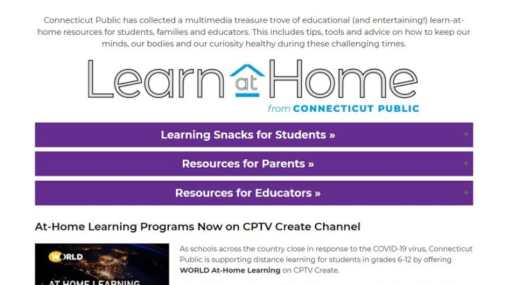 Connecticut Public Launches On-Air and Online Educational Programming and Resources to Support At-Home Distance Learning for Students Pre-K through 12